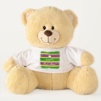 Mardi Gras Hand Painted Purple Green Gold Stripes Teddy Bear