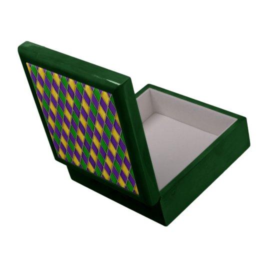 Mardi Gras Harlequin Diamond Pattern Tile Boxes