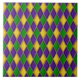 Mardi Gras Harlequin Diamond Pattern Tiles