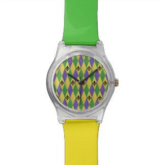 Mardi Gras Harlequin Fleur De Lis Designer Watch