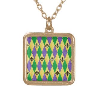 Mardi Gras Harlequin Fleur De Lis Gold Plated Necklace
