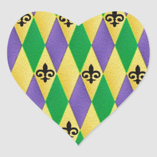 Mardi Gras Harlequin Fleur De Lis Heart Sticker