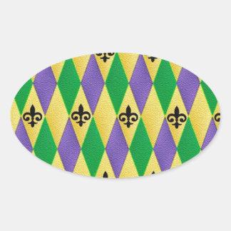 Mardi Gras Harlequin Fleur De Lis Oval Sticker