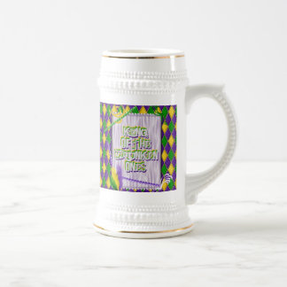 Mardi Gras Harlequin Pattern, Beads, Feathers Beer Stein
