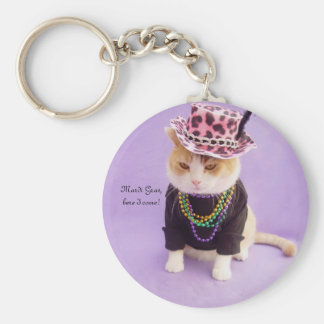 Mardi Gras, here I come! Basic Round Button Keychain