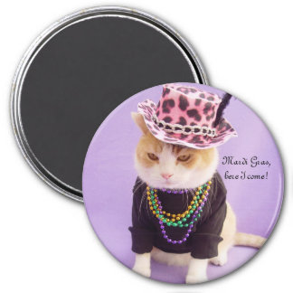 Mardi Gras, here I come! 3 Inch Round Magnet