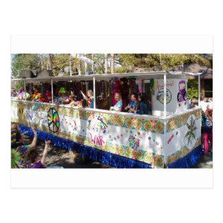 Mardi Gras Hippie Float Postcards