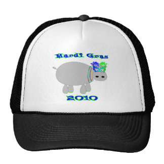 Mardi Gras Hippo with mask & beads tees & more Mesh Hats