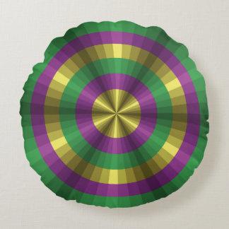 Mardi Gras Illusion Round Pillow