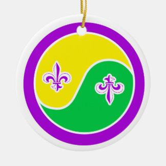 Mardi Gras in Balance Yin Yang Ornament