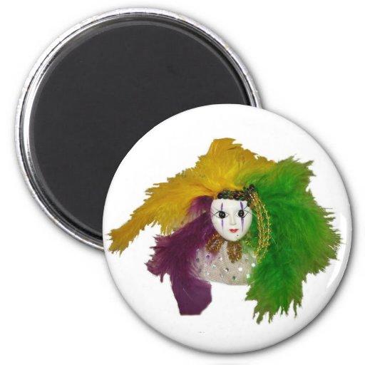 Mardi Gras Indian Mask 2 Inch Round Magnet