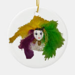 Mardi Gras Indian Mask Double-Sided Ceramic Round Christmas Ornament
