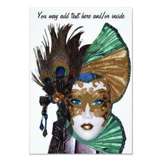 "Mardi Gras Invitation-Beautiful woman in Mask 3.5"" X 5"" Invitation Card"
