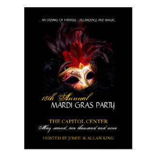 Mardi Gras Invitation Postcard