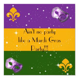 Mardi Gras invitations with mask and fleur de lis