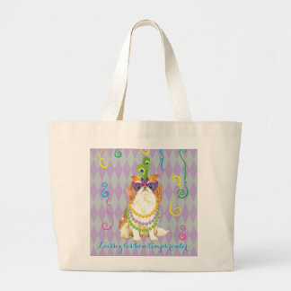Mardi Gras Japanese Chin Large Tote Bag