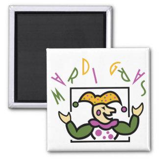 Mardi Gras Jester 2 Inch Square Magnet