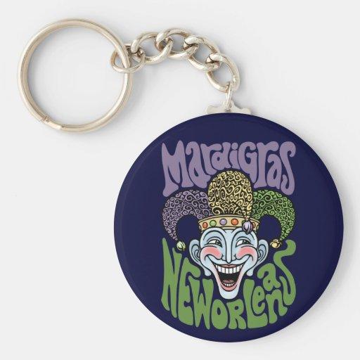 Mardi Gras Jester Basic Round Button Keychain