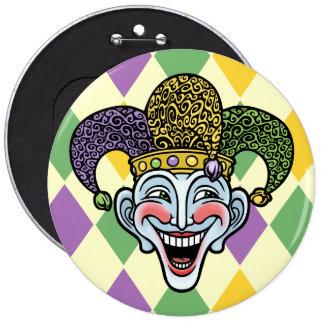 Mardi Gras Jester 6 Inch Round Button