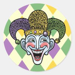 Mardi Gras Jester Classic Round Sticker