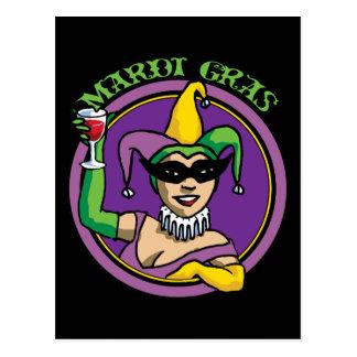 Mardi Gras Jester Girl Postcard