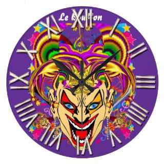 Mardi Gras Jester Joker  view hints please Round Clock