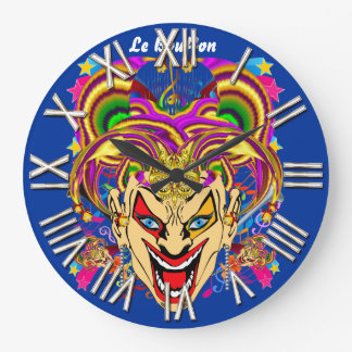 Mardi Gras Jester Joker  view hints please Large Clock