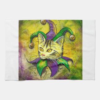 Mardi Gras Jester Kitty by GG Burns Towel