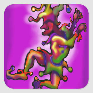 Mardi Gras Jester Square Sticker