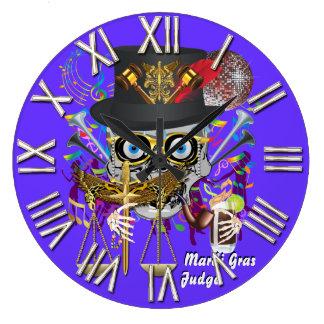 Mardi Gras Judge 30 colors Important view notes Large Clock