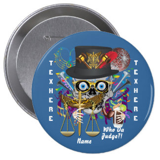Mardi Gras Judge 30 colors view notes below 4 Inch Round Button