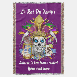 Mardi Gras King of Time View About Design Below Throw Blanket