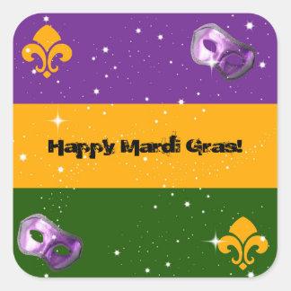 Mardi Gras labels with mask and fleur de lis Square Sticker