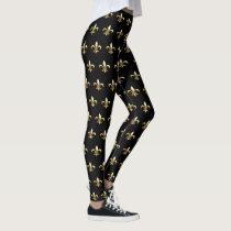Mardi Gras Leggings fleur de lis black gold