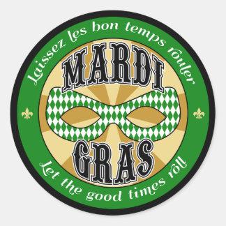 Mardi Gras Logo Classic Round Sticker