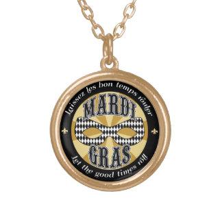 Mardi Gras Logo Round Pendant Necklace