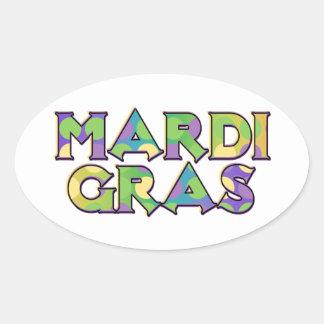 Mardi Gras Magic Mask Oval Sticker
