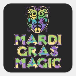 Mardi Gras Magic Mask Square Stickers