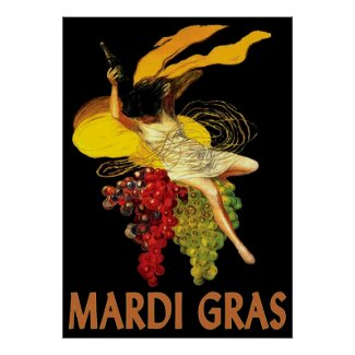 Mardi Gras Maid with Grapes print