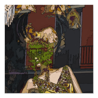 Mardi Gras Mannequin 5.25x5.25 Square Paper Invitation Card