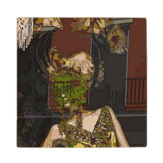 Mardi Gras Mannequin Maple Wood Coaster
