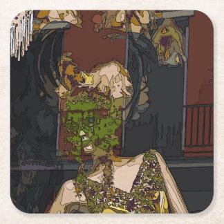 Mardi Gras Mannequin Square Paper Coaster
