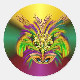 Mardi-Gras-Máscara--Reina Pegatina Redonda