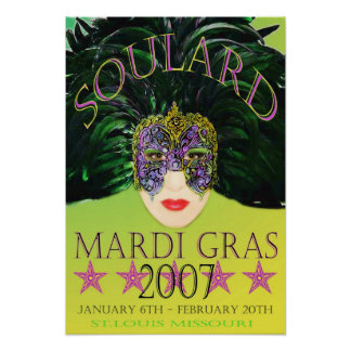 Mardi Gras Mask 2007 Poster St Louis