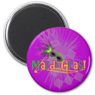 Mardi Gras Mask 2 Inch Round Magnet