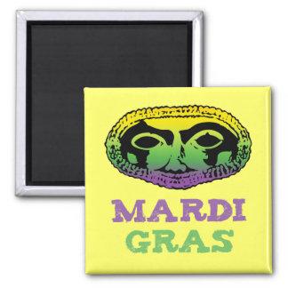 Mardi Gras Mask 2 Inch Square Magnet