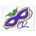 Mardi Gras Mask 4.25x5.5 Paper Invitation Card