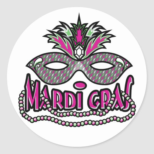 Mardi Gras Mask and Beads Classic Round Sticker