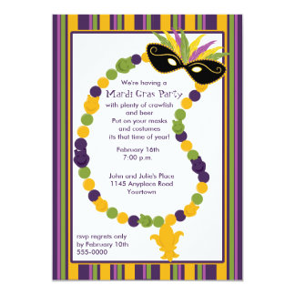 Mardi Gras Mask and Beads Party Invitation