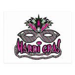 Mardi Gras Mask and Beads Postcard